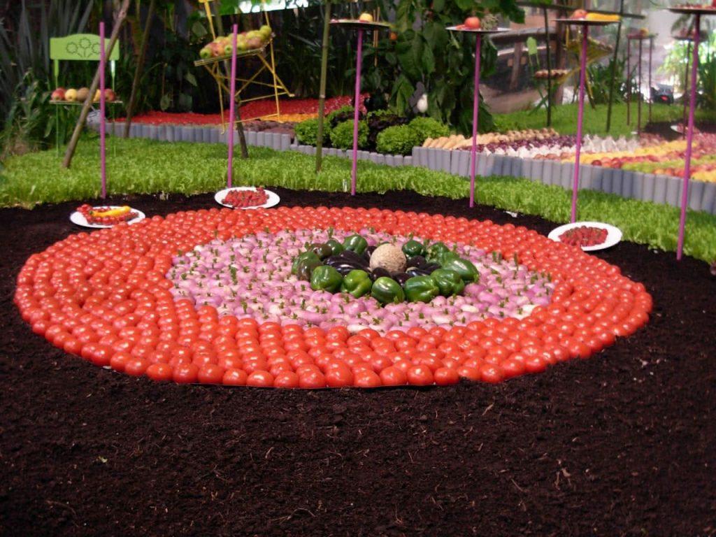 compositions de tomates et légumes au salon du végétal à nantes 2014