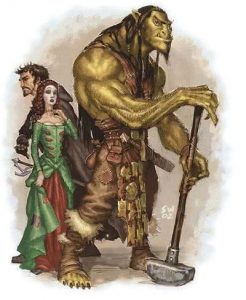 illustration Ogres et humains medieval